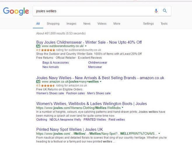 Google Adwords Results page